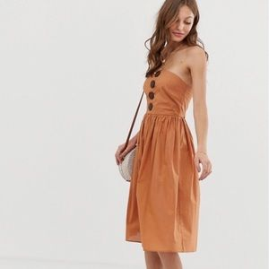 ASOS Bandeau Midi Sundress With Coconut Buttons